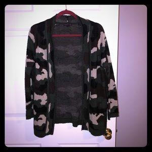 Camo print cardigan sweater